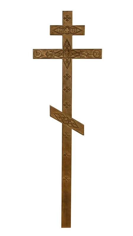 Крест сосновый КДС-06 с декором состаренный