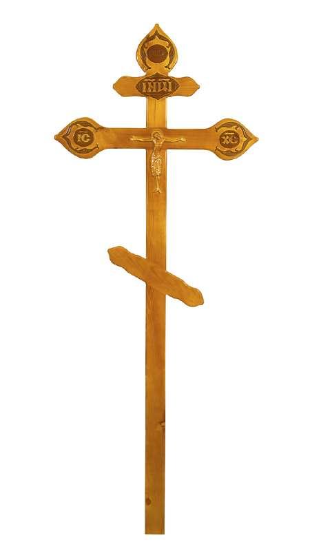 Крест сосновый КДС-17 «Фигурный» светлый с распятием