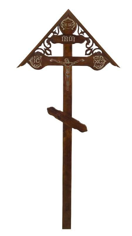 Крест сосновый КДС-20 «Фигурный» с распятием с крышкой