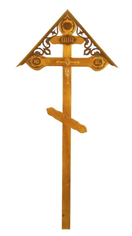 Крест сосновый КДС-21 «Фигурный» светлый с распятием с крышкой