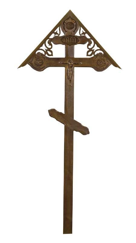 Крест сосновый КДС-22 «Фигурный» с распятием с крышкой