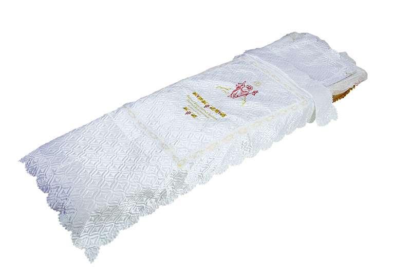 Покрывало в гроб, атлас стеганое с вышивкой Богородица