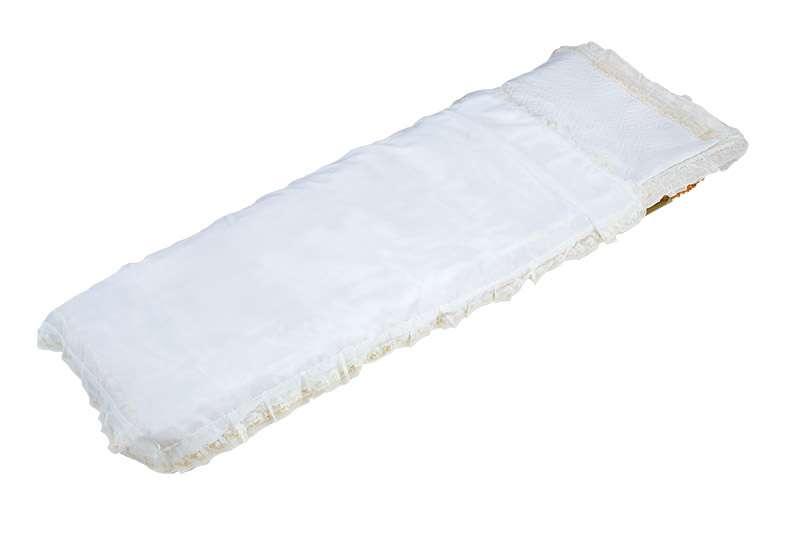 Покрывало в гроб, шелк белое с оборкой