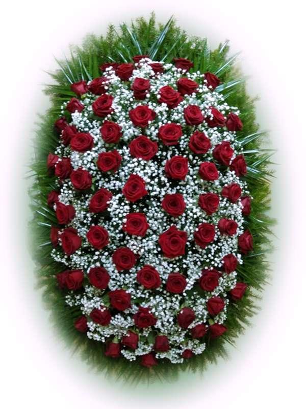 Венок из живых цветов №19
