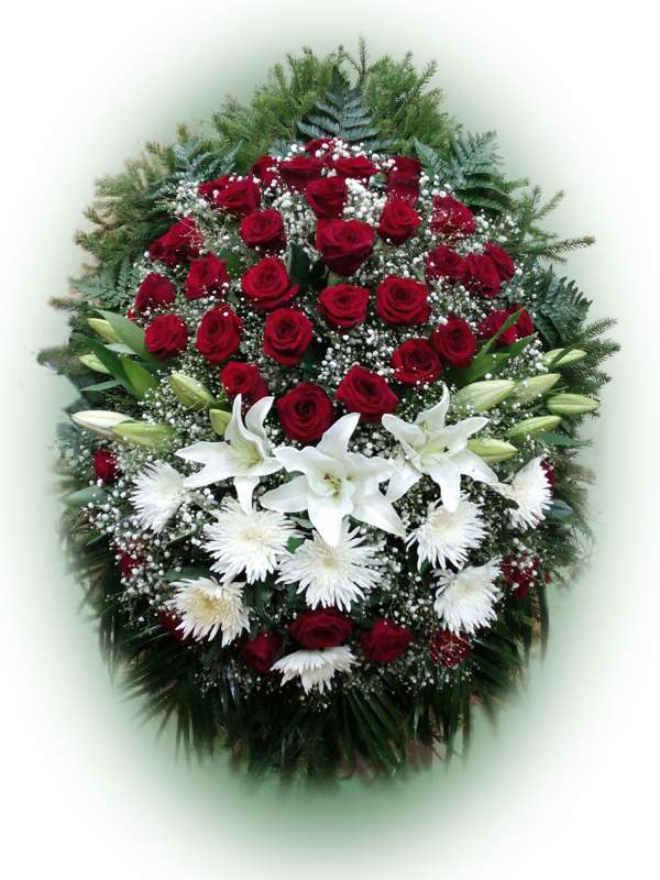 Венок из живых цветов №7